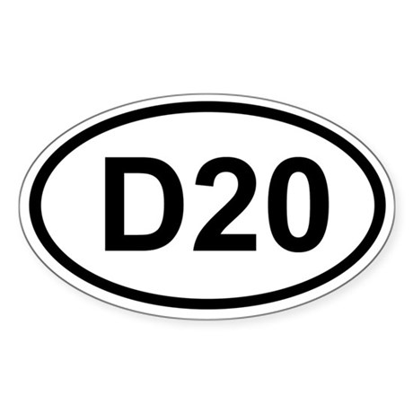 D20 Oval Sticker