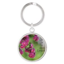 Roses with Love Quote Round Keychain