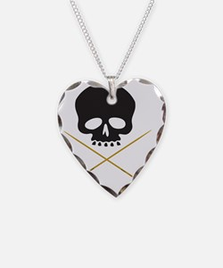 Skull with Drumsticks Necklace Heart Charm
