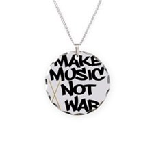 Make Music Not War Drums Necklace Circle Charm