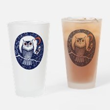 Blue Owl with Moon Drinking Glass