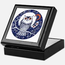 Blue Owl with Moon Keepsake Box