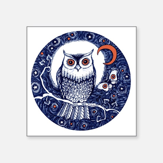 """Blue Owl with Moon Square Sticker 3"""" x 3"""""""