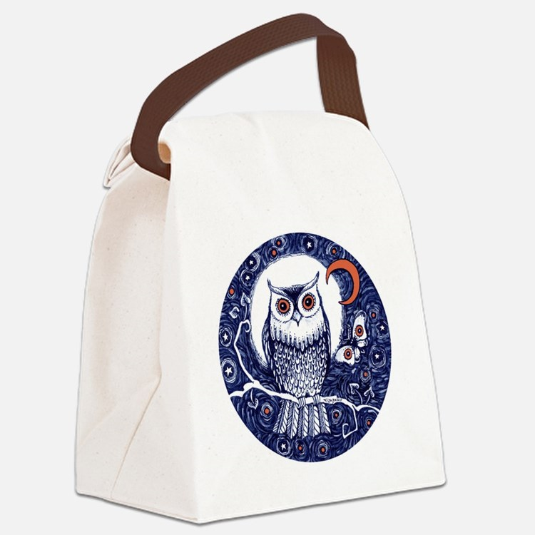 Blue Owl with Moon Canvas Lunch Bag