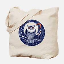 Blue Owl with Moon Tote Bag