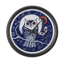 Blue Owl with Moon Large Wall Clock
