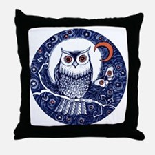 Blue Owl with Moon Throw Pillow