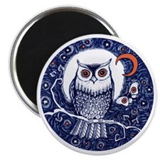 Blue Owl with Moon Magnet