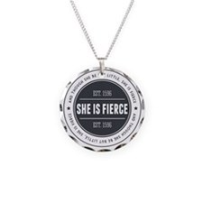 She is Fierce Badge Necklace Circle Charm