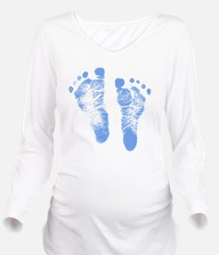 Baby Boy Footprints Long Sleeve Maternity T-Shirt