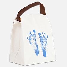 Baby Boy Footprints Canvas Lunch Bag