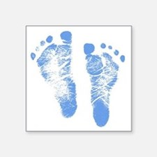 "Baby Boy Footprints Square Sticker 3"" x 3"""