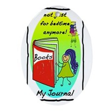 Bedtime Books JOURNAL Oval Ornament