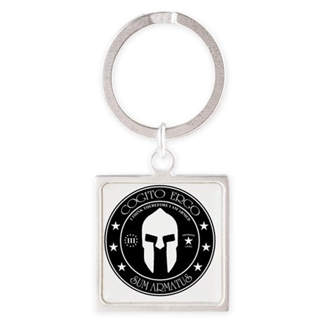 I Think Therefore I Am Armed Square Keychain