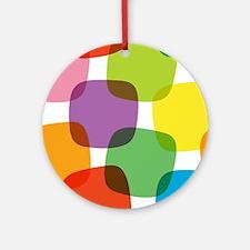 Colorful Retro Pattern Round Ornament