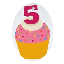 5th Birthday Cupcake Oval Ornament