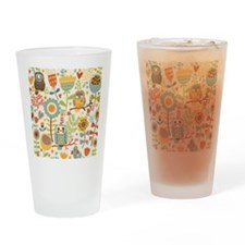 Flowers and Owls Drinking Glass