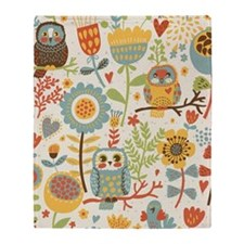 Flowers and Owls Throw Blanket