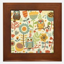 Flowers and Owls Framed Tile