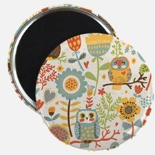 Flowers and Owls Magnet