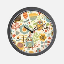 Flowers and Owls Wall Clock