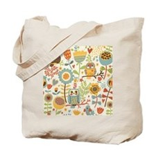 Flowers and Owls Tote Bag