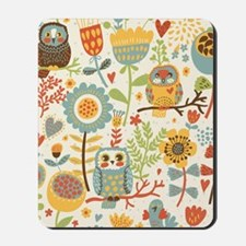 Flowers and Owls Mousepad