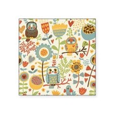 "Flowers and Owls Square Sticker 3"" x 3"""