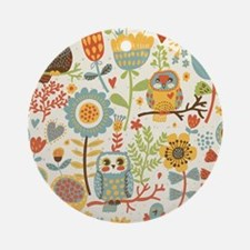 Flowers and Owls Round Ornament
