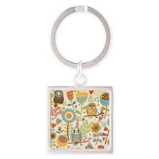 Flowers and Owls Square Keychain