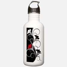 Black and White Flower Water Bottle