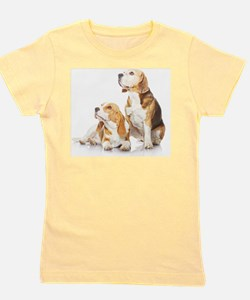 Two beagle dogs isolated on white backg Girl's Tee