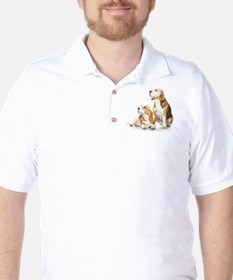 Two beagle dogs isolated on white backg Golf Shirt