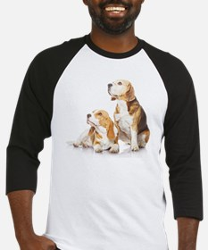 Two beagle dogs isolated on white  Baseball Jersey