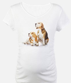 Two beagle dogs isolated on whit Shirt
