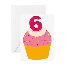 6th Birthday Cupcake Greeting Card