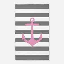 Grey And Pink Anchor Stripe 3'X5' Area Rug