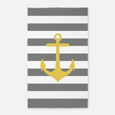 Grey And Yellow Anchor Stripe 3'X5' Area Rug