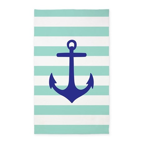 Mint And Navy Blue Anchor Stripe 3'X5' Area Rug