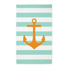 Mint And Orange Anchor Stripe 3'X5' Area Rug