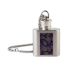 Purple Paisley Flask Necklace