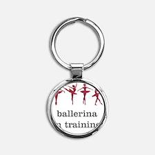 Ballerina in training, pink Round Keychain