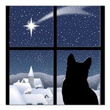"Silent Night Square Car Magnet 3"" x 3"""