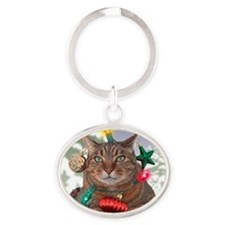 Catmas Tree Oval Keychain