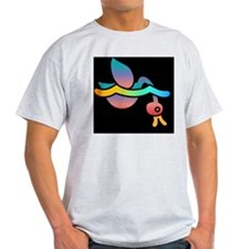 Rainbow duckie diving on black bkg T-Shirt