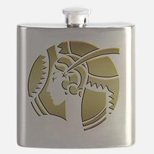 Golden Art Deco Lady Flask