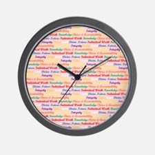 YW Values Colored on Light Pink Wall Clock