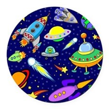 space shower curtain Round Car Magnet