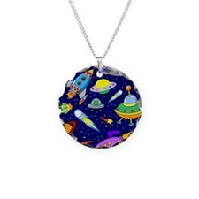 space shower curtain Necklace Circle Charm