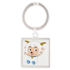 Baby Goat Square Keychain